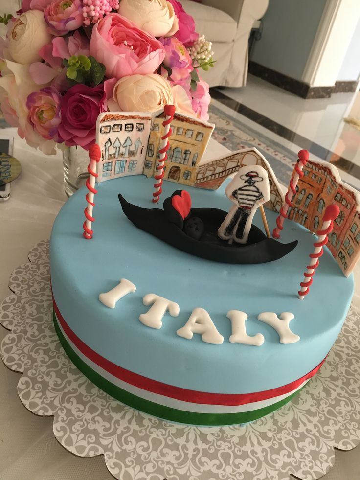 Italian Themed Birthday Cake