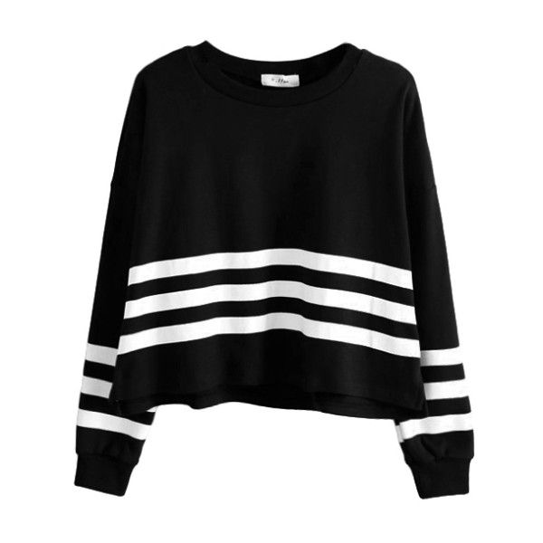 STRIPED JUMPER (€26) ❤ liked on Polyvore featuring tops, sweaters, shirts, jumpers, jumpers sweaters, black stripe top, striped sweater, stripe sweater and jumper shirt
