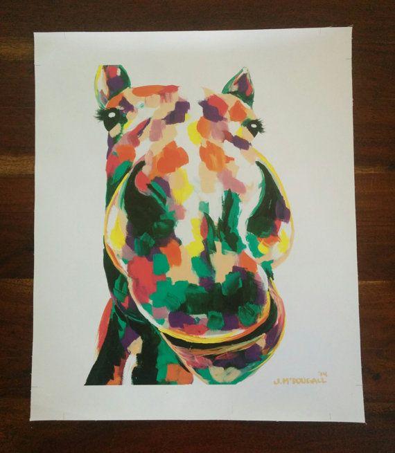 Ed the Horse print on Canvas 50cm x 40cm by ArtByJackieM on Etsy