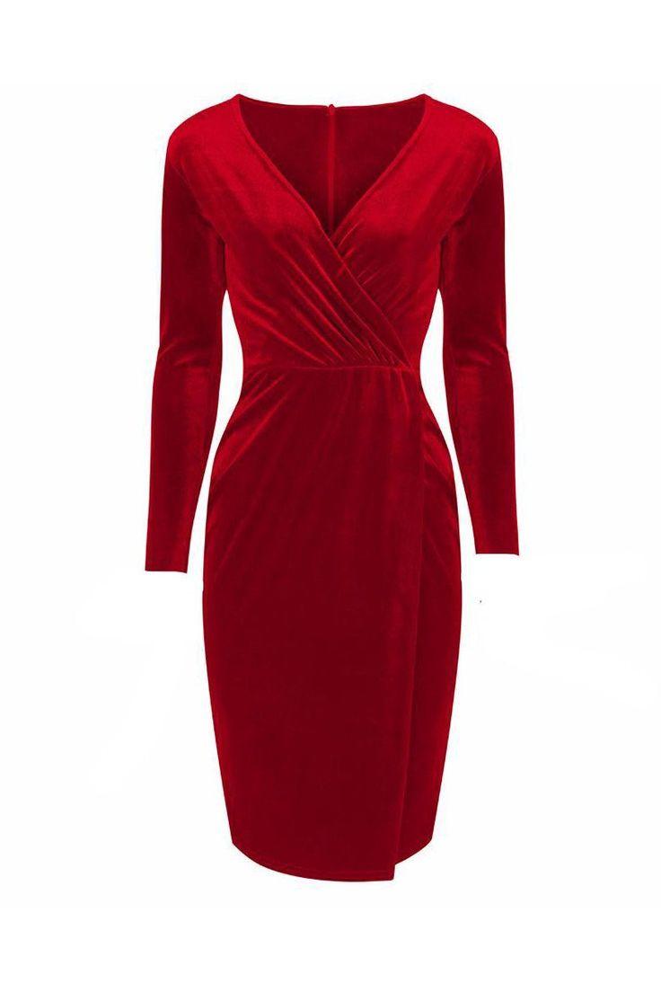 Red Velour Wrap Split Skirt Long Sleeve Wiggle Dress