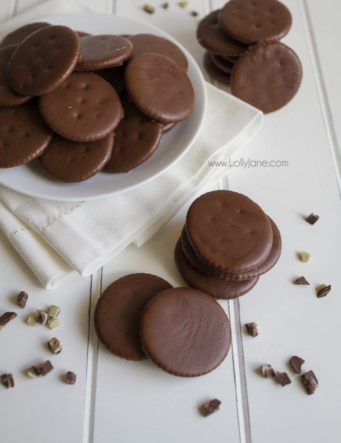 Homemade Thin Mint Girl Scout Cookies using Ritz crackers and Andes mints.