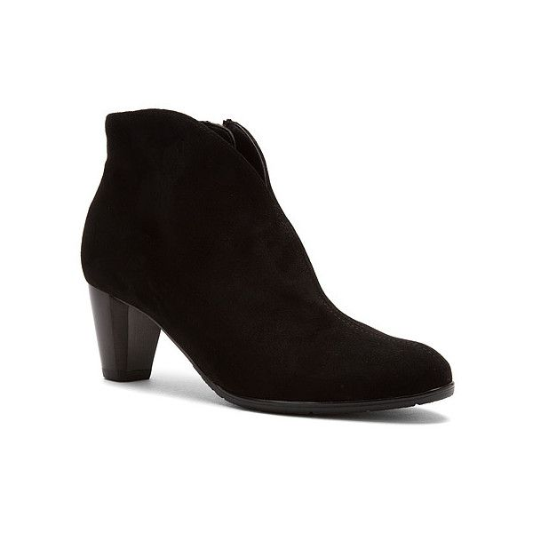 ara Tricia  Boots ($189) ❤ liked on Polyvore featuring shoes, boots, ankle booties, black suede, men, bootie boots, black bootie, black shootie, short boots and ara boots
