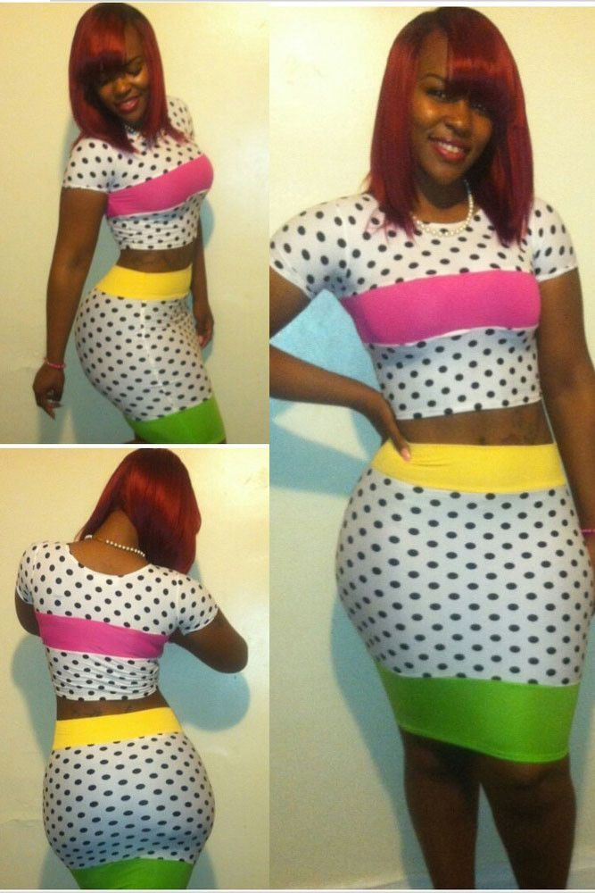 Colorful Two-piece Dot Print Bandage Skirt Set