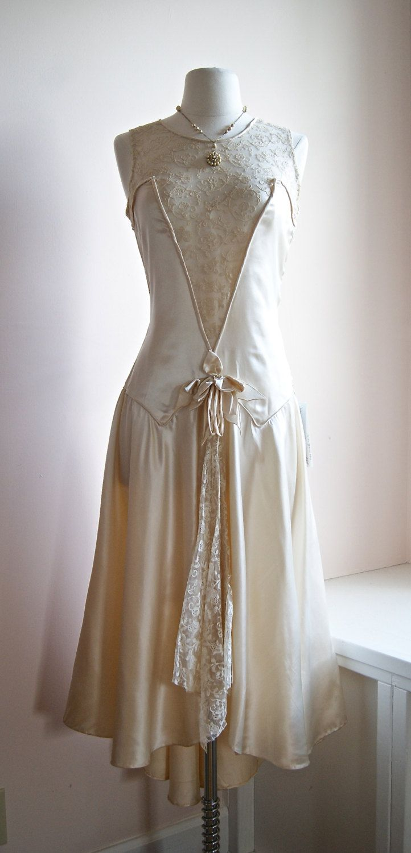 1920s Wedding Dress // Vintage 20s Lace Flapper Wedding Dress