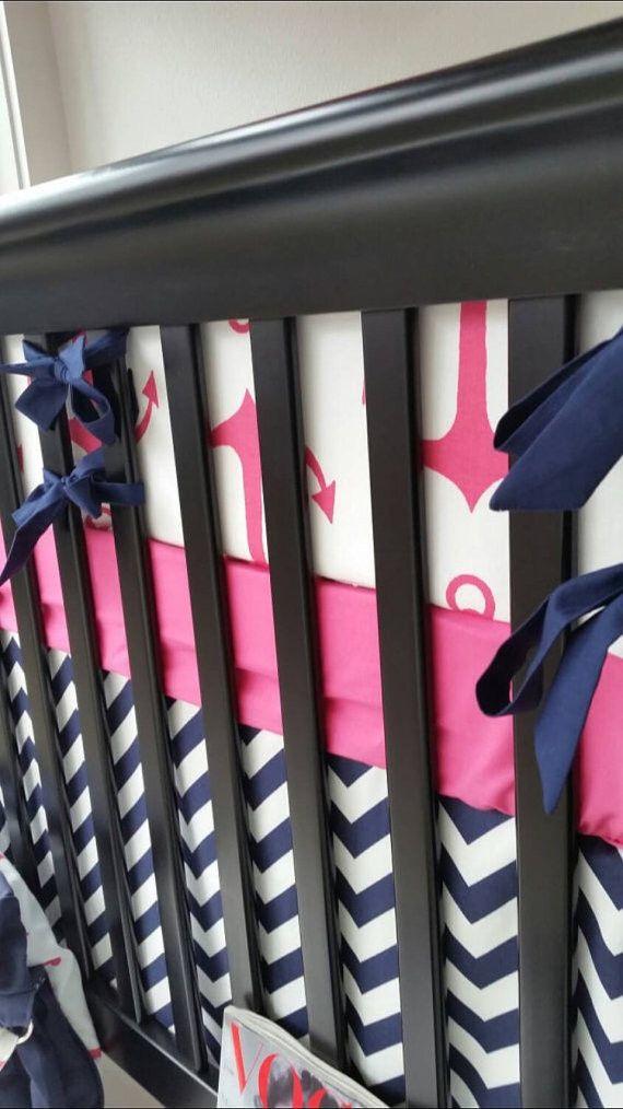 Navy and Hot Pink Anchor Nautical Crib Bedding – Custom Bebe Textiles