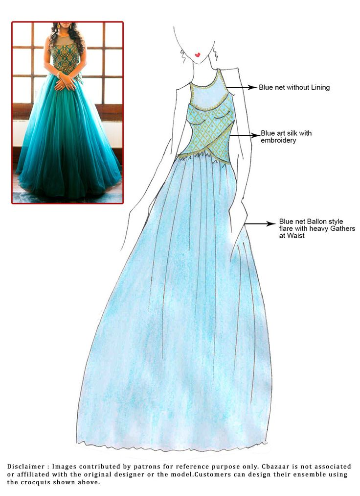 DIY Blue Net Floor Length Anarkali Suit