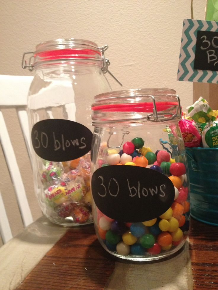 """Dirty thirty ideas for candies with mason jars and labels. """"30 sucks or 30 blows"""""""