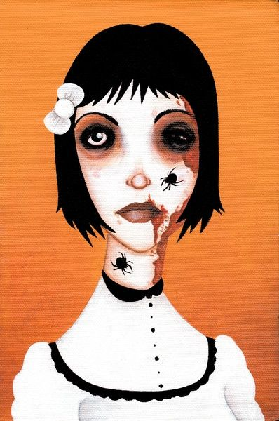 Itsy Bitsy by Ally Burke Spider Zombie Girl Tattoo Canvas Art Print