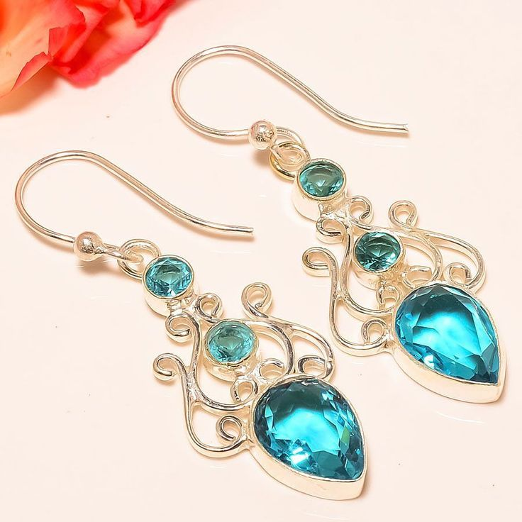 "Swiss Blue Topaz 925 Sterling Silver Jewelry Earring 2.13"" #Handmade #DropDangle"