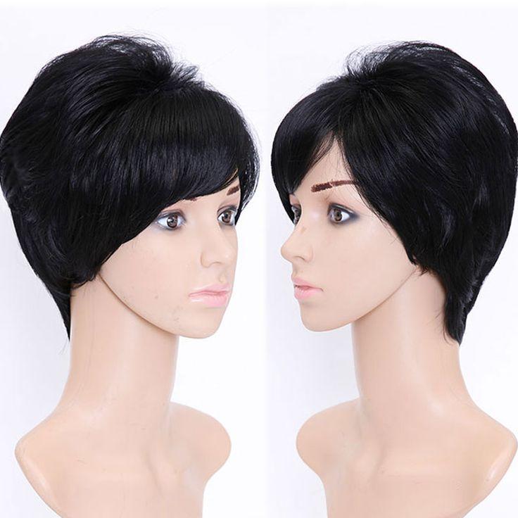 6 ''Krótkie Czarne Fryzury Dla Kobiet Kobiet Peruka Syntetyczna Kobiet naturalne Włosy Krótkie Peruki Dla Czarnych Kobiet Peruki Dla Europejskich kobiety