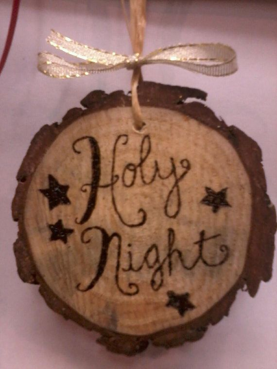 PINE Medallion wood burned Christmas ornament - buy one get one free. $8.00, via Etsy.