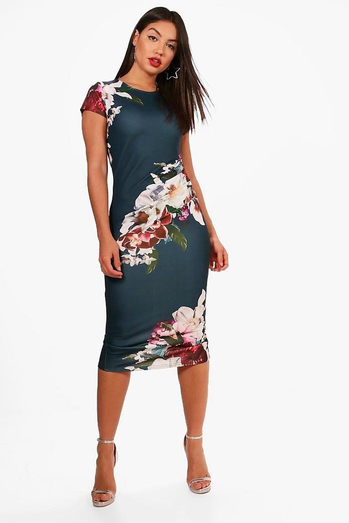 c9b5da9f17fd Floral Pleat Detail Midi Dress in 2019 | Dresses | Dresses, Bodycon ...