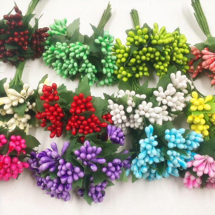 12 PCS/artificial pearl flower bouquets of stamens wedding decoration DIY Christmas wreath collage decorate artificial flowers
