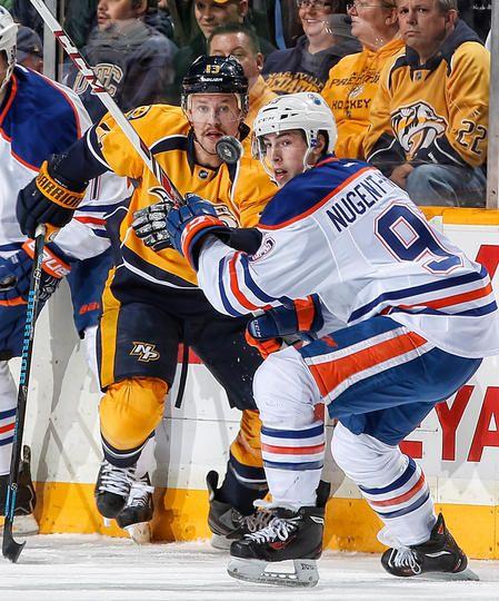Nick Spaling #13 Nashville Predators and Ryan Nugent-Hopkins #93 Edmonton Oilers