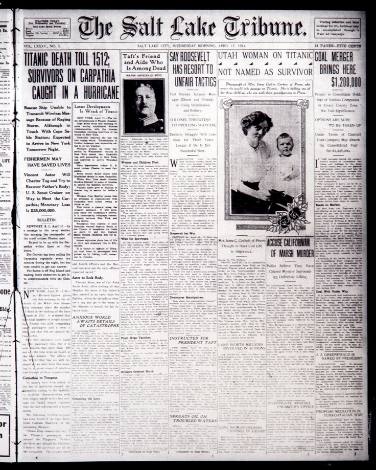 Titanic Sinking Coverage From The Salt Lake Tribune In