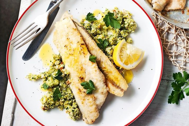 Pan-fried whiting with broccoli pesto