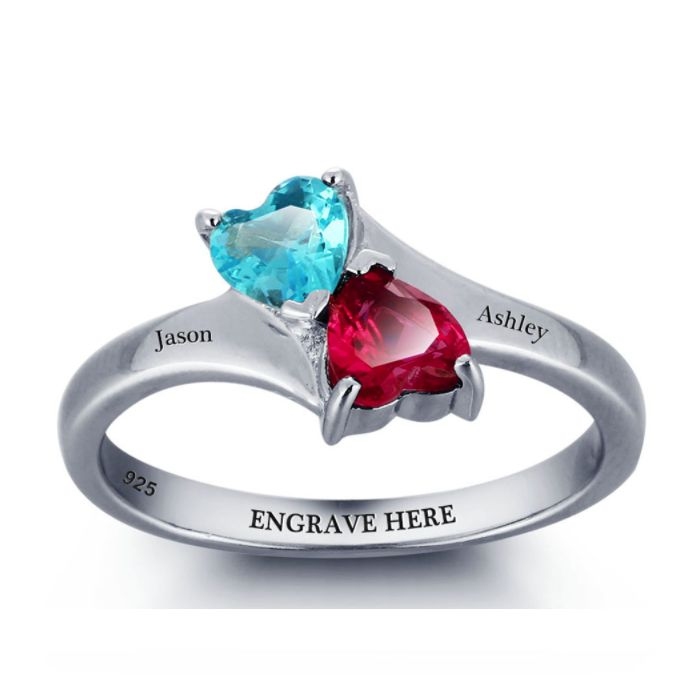 Discount Voucher Special!! >>> ENTER CODE WINTER AT CHECKOUT & SAVE FOR EACH AND EVERY ITEM IN OUR SPECIALS CATALOGUE! .... Specials items may be time limited so get yours quick! ....  Double Hearts Birthstone Ring - 925 Sterling Silver