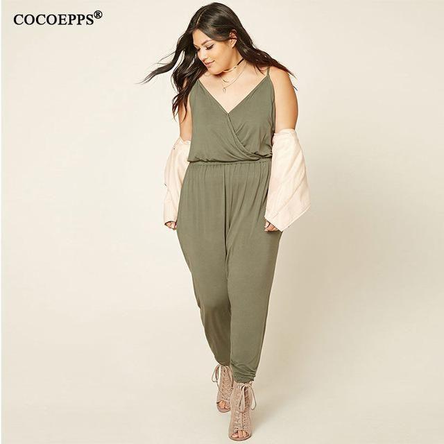 Summer Loose 5XL 6XL Plus Size Women casual Jumpsuit 2018 sleeveless Deep  V-neck sling d320cc090aa6