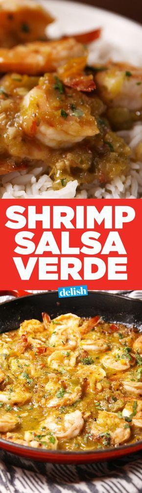 Salsa Verde Shrimp with Cilantro Rice 1 c. white rice 2 tbsp. extra-virgin olive oil 1 lb. shrimp, peeled and deveined kosher salt Freshly ground black pepper 1 c. salsa verde 1/4 c. Chopped cilantro Lime wedges