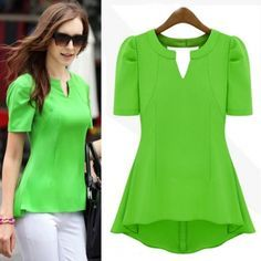 USD8.99New Style Woman V Neck Short Sleeve Solid Green Chiffon Candy Color Blouse