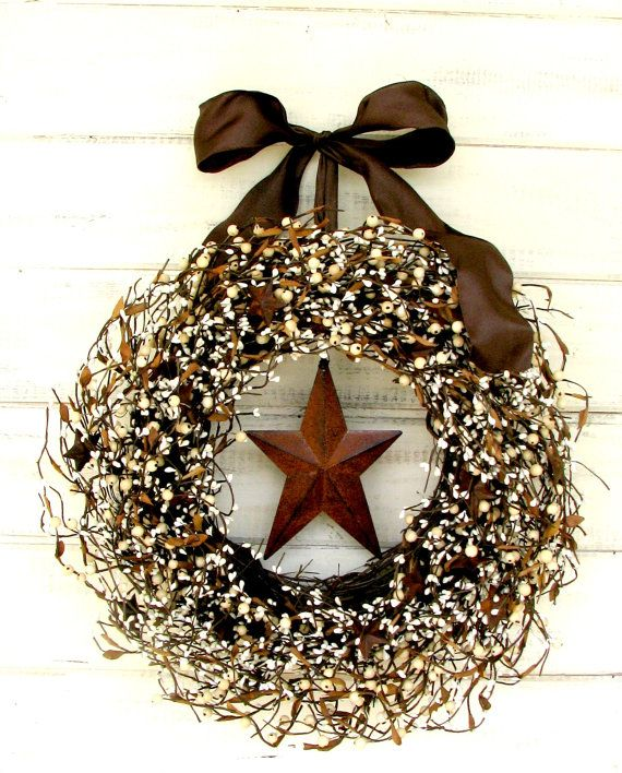 RUSTIC STAR Door Wreath-Rustic Home Decor-Fall Door Wreath-Brown Wreath-Primitive Country-Scented Mulled Cider -Choose Scent and Ribbon