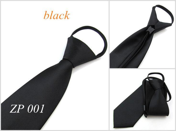 Free shipping 8cm slim Formal Zipper tie for men Wedding Party business neckties Strie Convenient Male Neck Tie black blue red