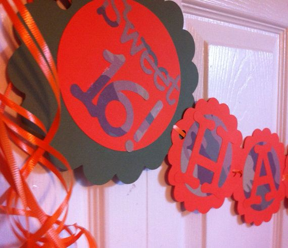16th Birthday Party Decorations Sweet Sixteen Personalization Available Camo on Etsy, $22.75