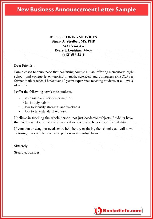 new business announcement letter letter of recommendation bu tarz
