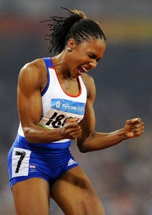 Tasha Danvers celebrates winning the bronze in the women's 400 metre hurdles final at the Beijing 2008 Olympics