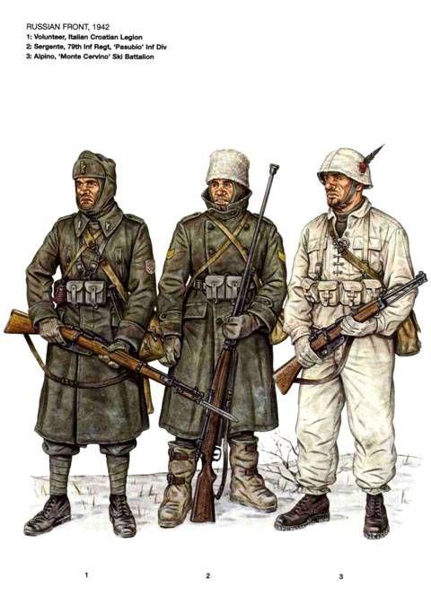 """Regio Esercito, Fronte Russo, 1942-43 - 1 Volontario. Legione Italiana Croata - Sergente, 79° Rgmt, Divisione di Fanteria """"Pasubio"""" - 3 Alpino, Battaglione Sciatori Alpini """"Monte Cervino"""""""