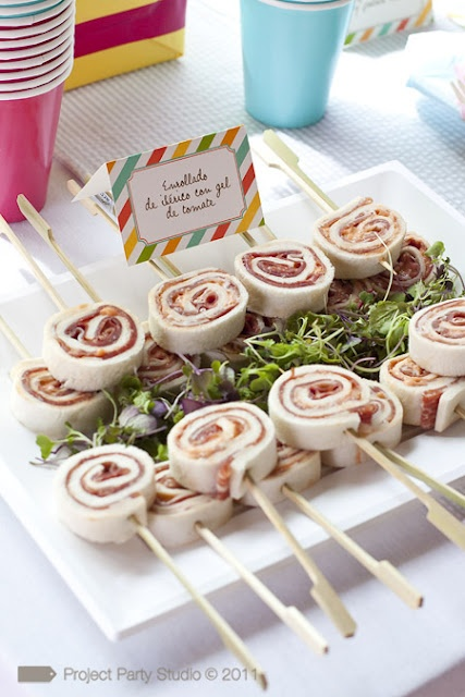 Love this idea. So much easier to eat this way. Pinwheel sandwiches.