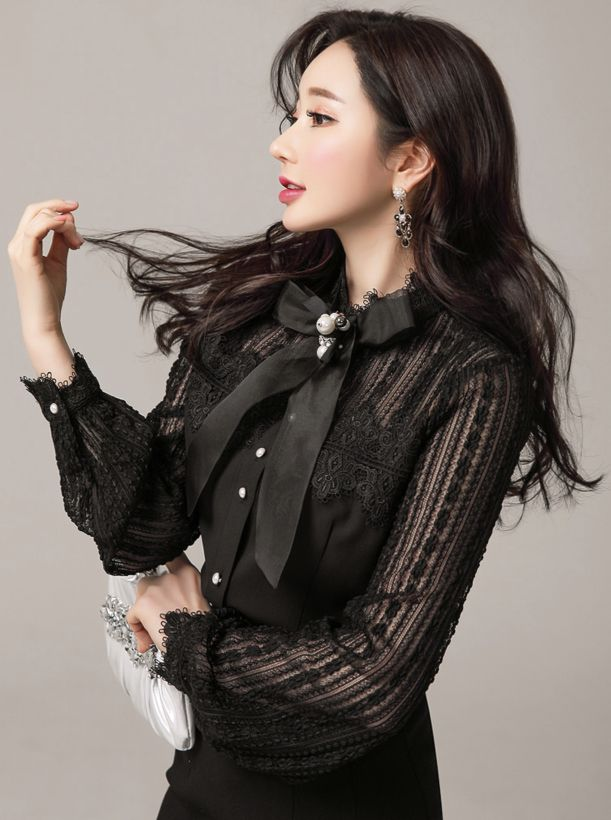 StyleOnme_Pearl Button Lace Ribbon Tie Blouse #black #lace #feminine #pearl #ribbontie #blouse #koreanfashion #kstyle #kfashion #seoul #springtrend