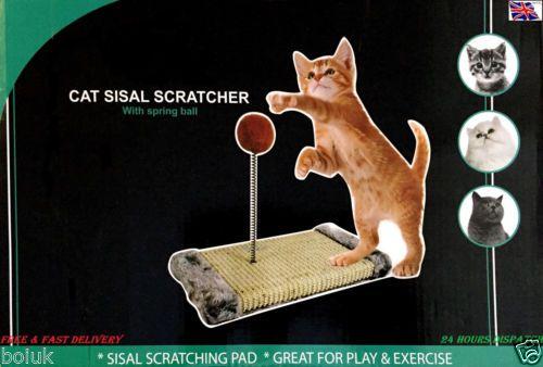 Cat-Scratch-Play-Post-Activity-Pole-Centre-Climbing-Sisal-Scratcher-Toy-Ball-New
