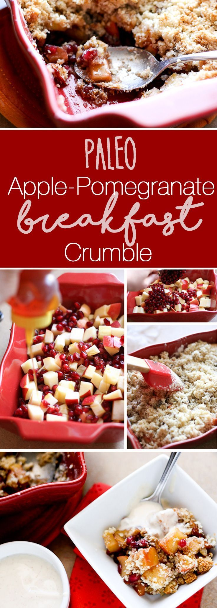 Paleo Apple-Pomegranate Breakfast Crumble | paleo recipes | breakfast recipes | apple recipes | pomegranate recipes | perrysplate.com