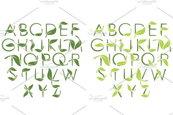 Font set with leaves #nature