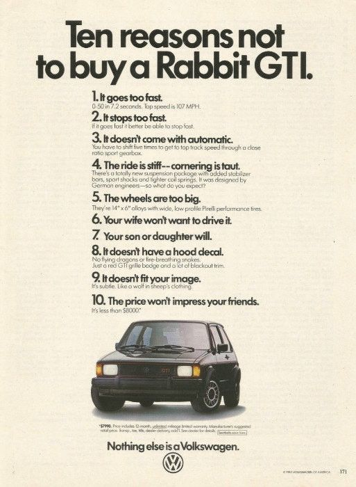 "1983 VW Rabbit GTI Car Ad ""Top Ten"""