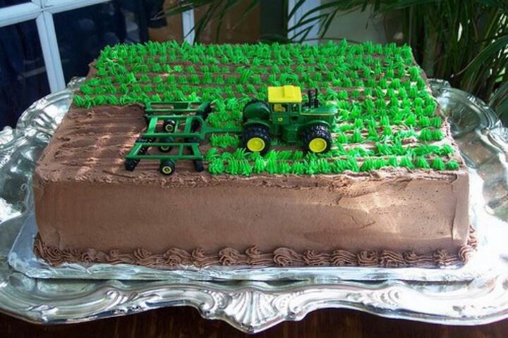 Tractor plowing field cake