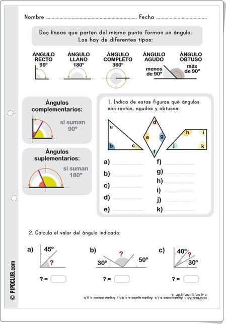 """""""Tipos de ángulos"""" es una bonita y sencilla ficha de trabajo, de Pipoclub.com…"""