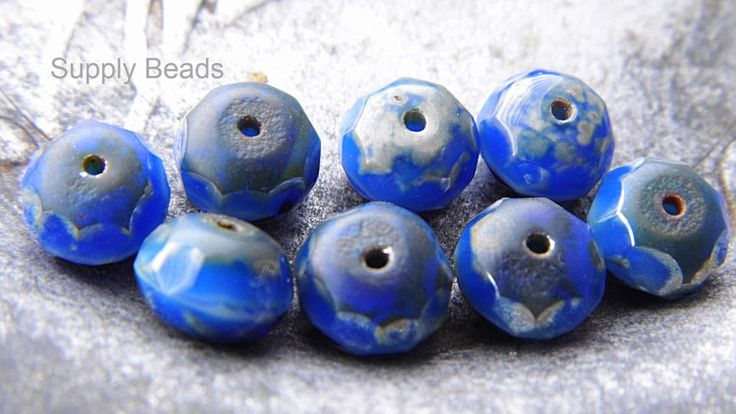 Royal Blue Rondell Beads, Rondell Beads, Blue Beads, Royal Blue Beads, Czech Beads, sbp.000046 by SupplyBeads on Etsy
