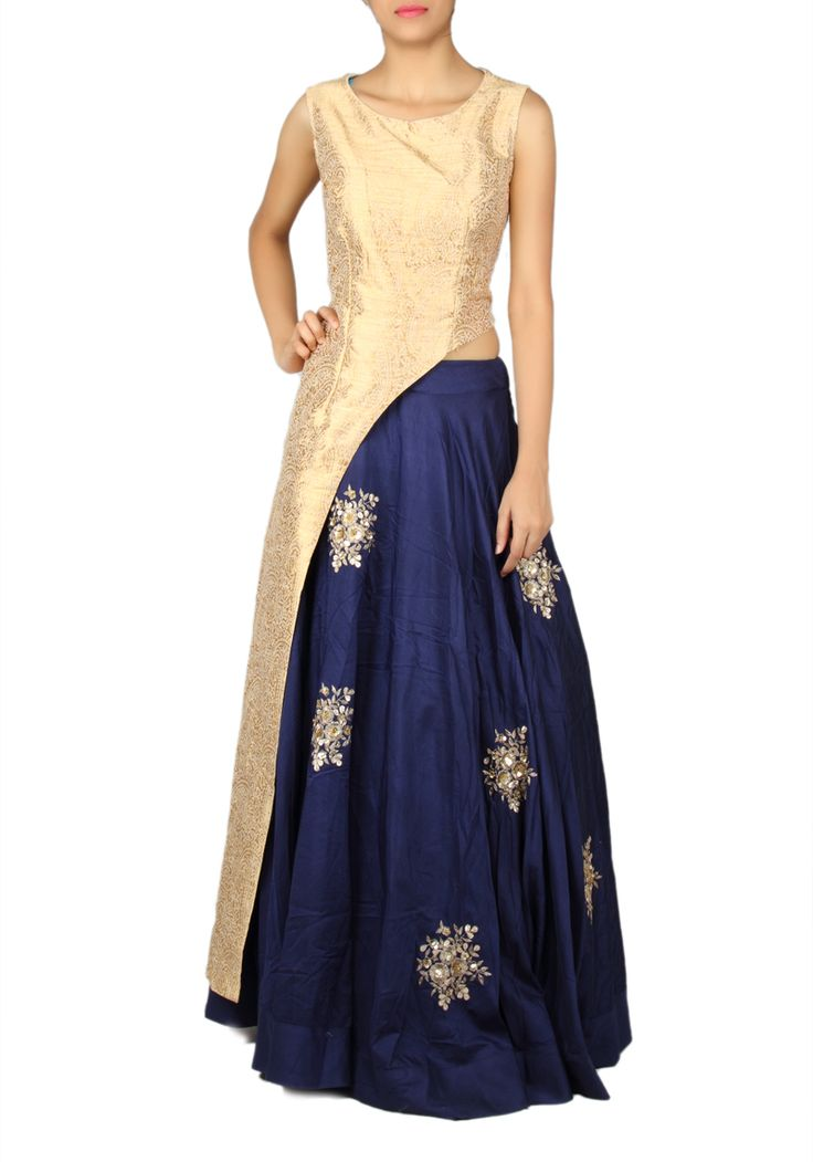SANGEET / MEHENDI : Silk Blue and Gold Designer Indo Western Chaniya Choli