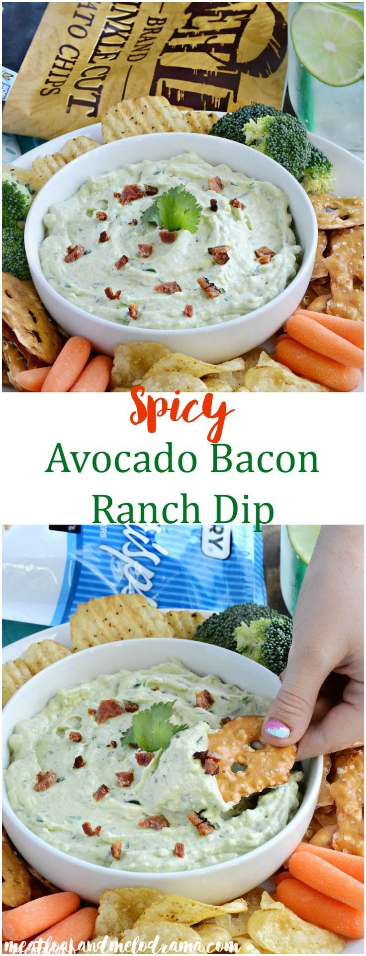 Spicy Avocado Bacon Ranch Dip - A light, fluffy dip that's perfect for your snack or appetizer table on game days, parties or anytime! AD #TheNewFanFavorites