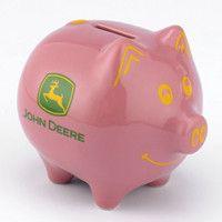 John Deere Medium Pink Piggy Bank