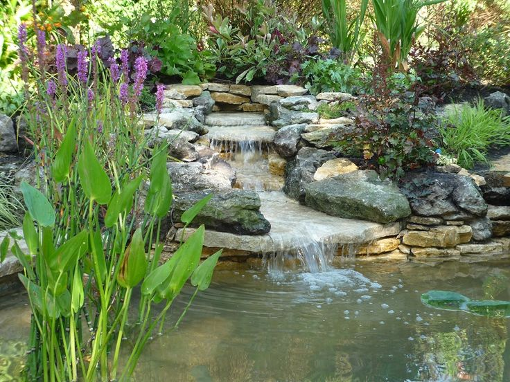 Garden ponds and waterfalls pond design with stilted deck area and planting herbs and Small backyard waterfalls and ponds