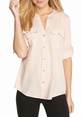 Calvin Klein Women's D-Ring Roll Sleeve Blouse - Pink - Xs