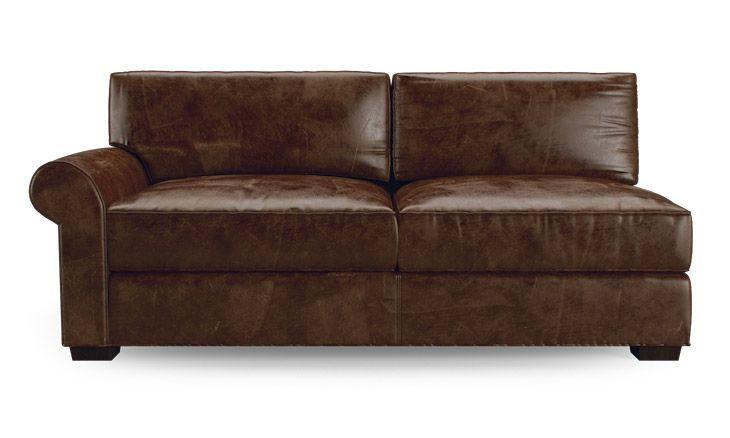 Leo Leather Single Arm Loveseat