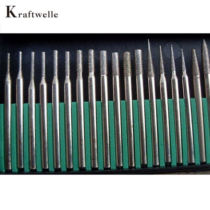 30 CÁI 3 MÉT Kim Cương Burrs Set Dremel Mini Drill Bit Rotary Tool Đánh Bóng Kim Đầu Mài Khắc Phụ Kiện Herramientas