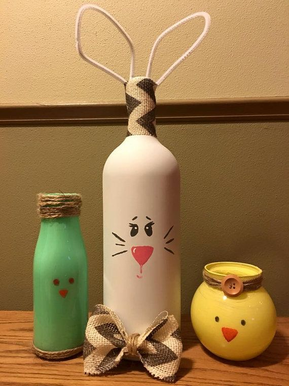 Happy Easter Yall!!! Decorate for Easter and Spring with adorable hand-painted glass bottles( Bunny, Bird, and Chick)!! Set of 3 for $25 Mix and