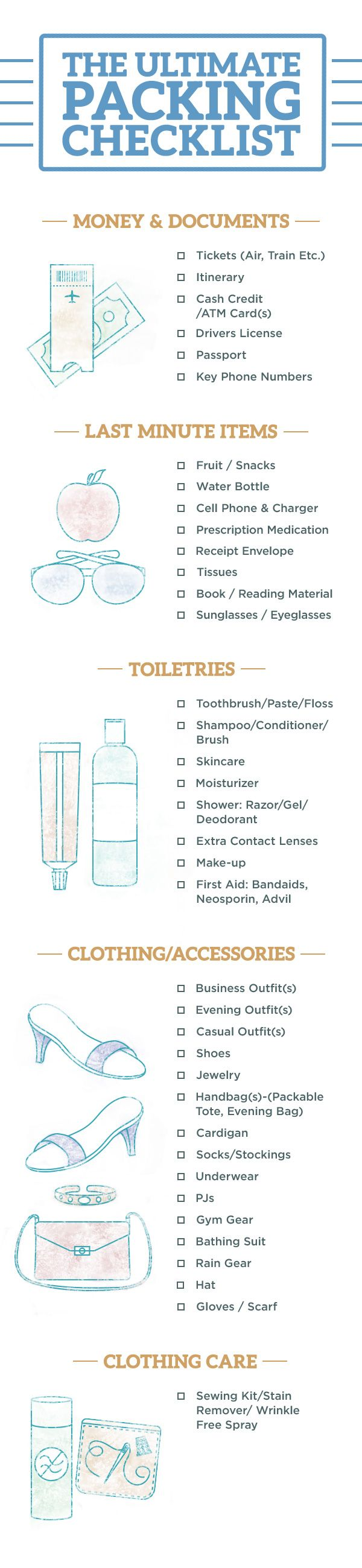 PIN IT: The Ultimate Packing Checklist. Don't leave anything behind. Check off each item off the list and you'll have all the essentials (plus, supplies that cover any emergencies that might come up).