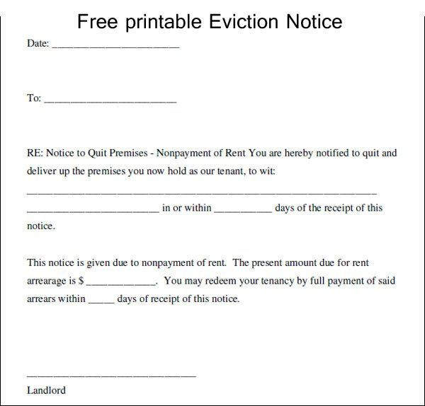 Free Eviction Notices Forms Beautiful Printable Eviction Notice Eviction Notice 30 Day Eviction Notice Letter Templates Free