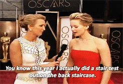 That's probably because she was so worried about falling again this year that she admitted to trying out her dress on a staircase beforehand. | Jennifer Lawrence's 19 Best Moments At The Oscars